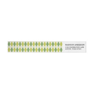 Retro Green Geometric Argyle Pattern Wrap Around Label