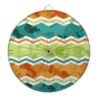 Retro Green, Orange, Teal Camo Chevron Dartboard