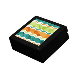 Retro Green Orange Teal Camo Chevron Jewelry Box