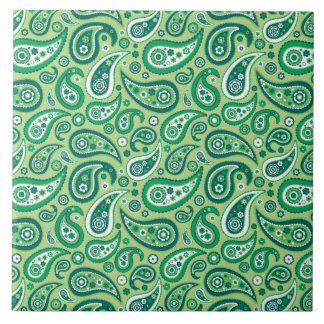 Retro Green Paisley Pattern Tiles