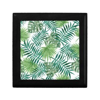 Retro Green Palm Leaves Style Pattern Design Gift Box