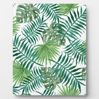 Retro Green Palm Leaves Style Pattern Design Plaque