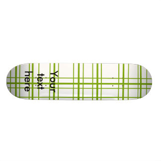 Retro green plaid on white background 21.6 cm old school skateboard deck