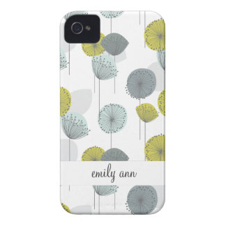 Retro Green Poppies Flowers Pattern iPhone 4 Covers
