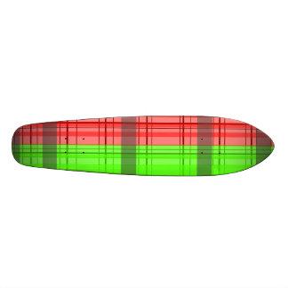 Retro green red transparent plaid 21.6 cm skateboard deck