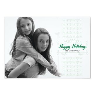 Retro Green Snowflake Band Holiday Card 13 Cm X 18 Cm Invitation Card