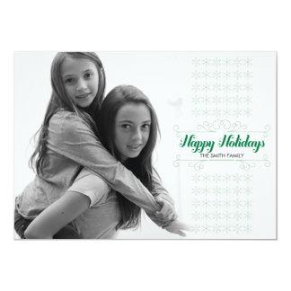 Retro Green Snowflake Band Holiday Card 13 Cm X 18 Cm Invitation Card