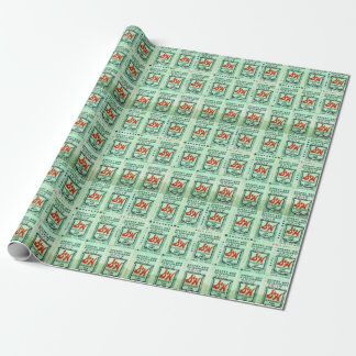 retro green stamps wrapping paper