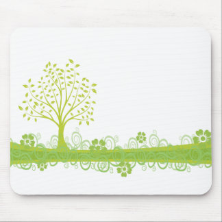 Retro Green Tree Mouse Pad