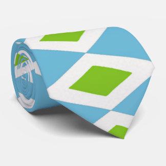 Retro Green, White, Blue Diamonds Tie, 2-sided Tie