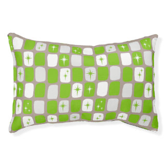 Retro Green & White Starburst Dog Bed