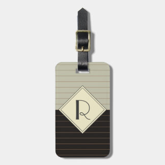 Retro Grey and Black Stripe Monogram Luggage Tag