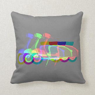 Retro Grey Multi-print Scooter Cushion Pillow