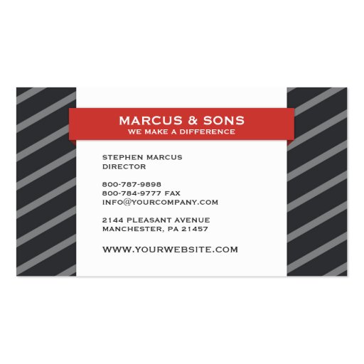 Retro Grey Red Banner Business Card