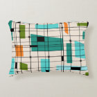 Retro Grid & Starbursts Accent Pillow