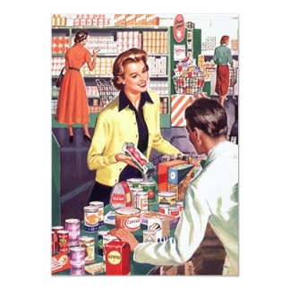 Retro Grocery Check-out Pantry Party Stock Kitchen 13 Cm X 18 Cm Invitation Card