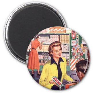 Retro Grocery Store shopping happy shopper Gifts 6 Cm Round Magnet