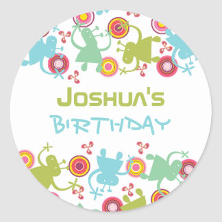 Retro Groovy Aliens Kids Birthday Label Sticker