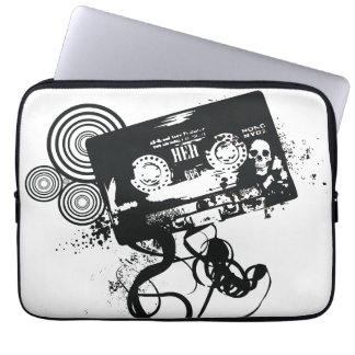 Retro Grunge Audio Tape & Skull Laptop Sleeve
