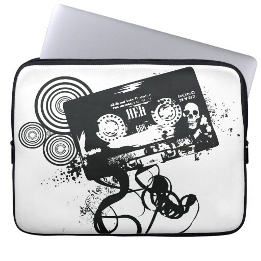 Retro Grunge Audio Tape & Skull Computer Sleeves