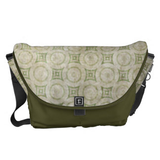 Retro Grunge Beige and Green Pattern Courier Bags