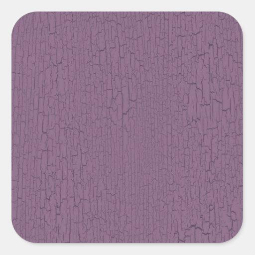 Retro Grunge Crackled Purple Texture Square Stickers