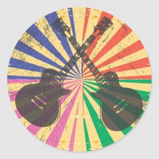 Retro Grunge Guitars on starburst background Round Sticker