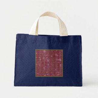 Retro Grunge Rose Sage Stripes Plaid Navy Blue Mini Tote Bag