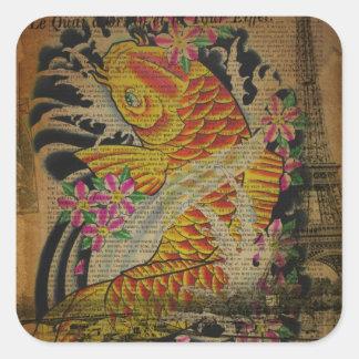 retro grunge vintage japanese koi fish square sticker