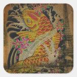 retro grunge vintage japanese koi fish square stickers