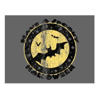 Retro Halloween Bats Postcard