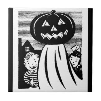 Retro Halloween Pumpkin Ghost and Kids Ceramic Tile