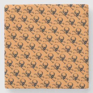 Retro Halloween Skulls Stone Coaster
