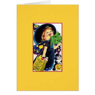 Retro Halloween Trick Or Treat Greeting Card