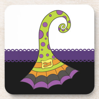 Retro Halloween Witch Hat Beverage Coaster