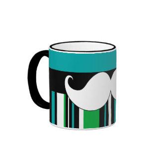 Retro Handlebar Mustache Moustache Stripes Coffee Mugs