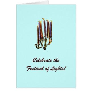 Retro Hanukkah Menorah Card