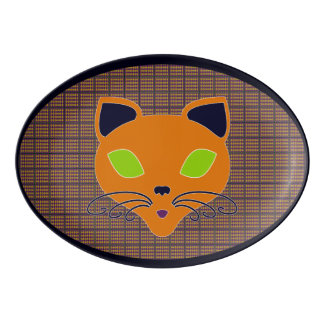 Retro Happy Halloween Cat Platter