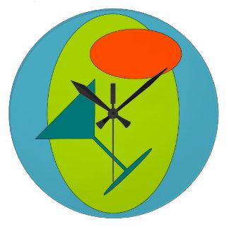 Retro Happy Hour Martini Large Clock
