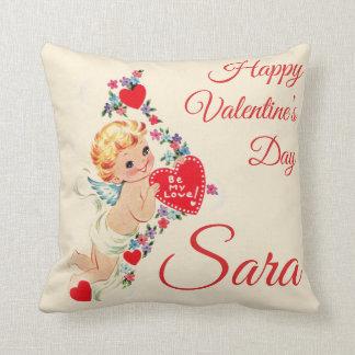 "Retro ""Happy Valentine's Day"" Cherub Personnalised Cushion"