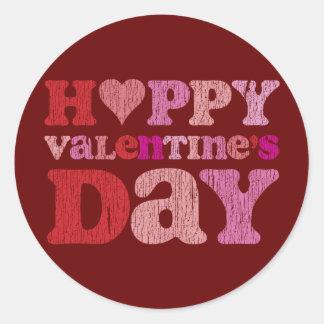 Retro Happy Valentine's Day Round Sticker