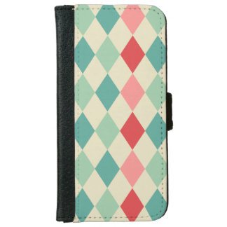 Retro Harlequin Geometric Pattern iPhone 6 Wallet Case