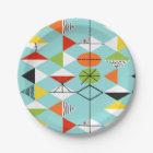 Retro Harlequin Pattern Paper Plates
