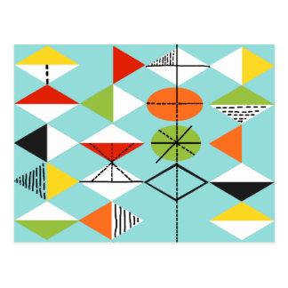 Retro Harlequin Pattern Postcard