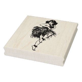 Retro Hawaiian Dancer Rubber Art Stamp