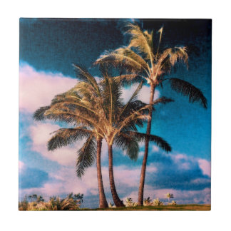 Retro Hawaiian Palm Trees Customized Palms Small Square Tile