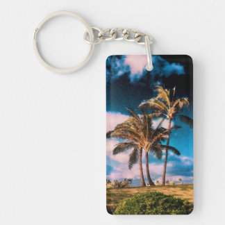 Retro Hawaiian Palm Trees Customized Palms Templat Double-Sided Rectangular Acrylic Key Ring