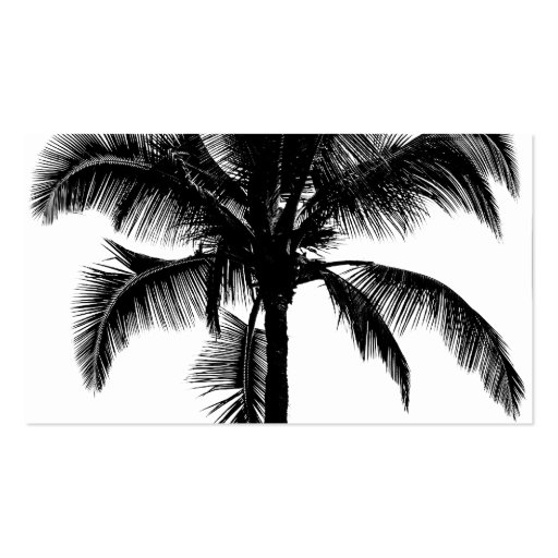 Retro Hawaiian Tropical Palm Tree Silhouette Black Business Card Template