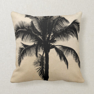 Retro Hawaiian Tropical Palm Tree Silhouette Black Cushion