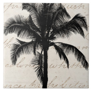 Retro Hawaiian Tropical Palm Tree Silhouette Black Large Square Tile